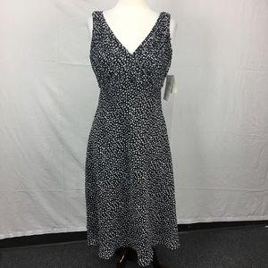 Adrianna Papell Black Polka Dot Pleat Midi Dress